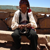 Taquile man knitting, Photo by Paula Newton