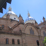 The blue domes of La Inmaculada Cathedral are one of Cuenca's most distinctive landmarks.