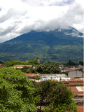 View of Volcán de Agua from the rooftop terrace. (Photo by Lucy Brown)